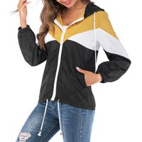 Wholesale yellow running jacket for sale - Group buy New Female Casual Windbreaker Women s Basic Hooded Jacket Patchwork Long Sleeve Clothing Multicolor Running Coat