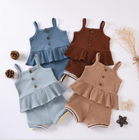 Wholesale ruffled girl panties for sale - Group buy Baby Girls Clothes Infant Girls Suspender Tops Shorts Sets Cotton Solid Jumpsuits Panties Ruffle Children Outfits Boutique LSK463