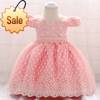 Wholesale flowers birthday month resale online - BOTEZAI Retail Newborn Baby Girl Summer Dresses With Flower Belt Baby Girls Party Dress For Birthday month