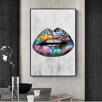Wholesale sexy painting arts resale online - Modern Abstract Sexy Lips Oil Painting Graffiti Wall Art Canvas Posters Prints Wall Pictures for Living Room Bedroom Home Decoration