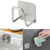 Wholesale stainless steel sink rack for sale - Group buy Kitchen Stainless Steel Sponges Holder Self Adhesive Sink Sponges Drain Drying Rack Kitchen Sink Accessories Storage Organizer