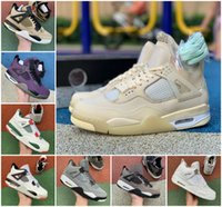 sapatos retro verdadeiros  venda por atacado-New Jumpman Travis Scotts 4 Mens tênis de basquete 4s Mushroom Bred Cement UNC Branco Rasta Raptors White Sail Retroes Varsity real Sneakers