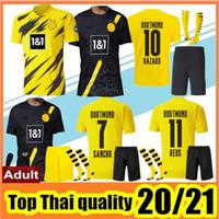 Wholesale men kits resale online - 2020 Top Quality Borussia soccer jerseys kit HAZARD REUS HAALAND SANCHO Jersey football shirt MEN Uniforms kit