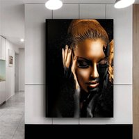 Wholesale painting nudes girls resale online - Scandinavian Sexy Girl Posters and Prints Black Gold Nude Art African Woman Wall Art Canvas Oil Painting Wall Picture for Living Room Decor