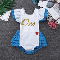 Wholesale lace short sleeve romper for sale - Group buy Newborns Baby Girls Fancy Clothing Flutter Sleeves Letters One Sweet heart Pattern Romper Infantil Bebe Cosplay Party Costumes