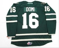 Wholesale Custom Men Youth women Vintage Max Domi Ohl London Knights Green WHITE Premier OHL Hockey Jersey Size S XL or custom any name or number
