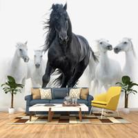 Wholesale white horses painting art resale online - Custom D Photo Wallpaper Black White Horse Art Wall Painting Living Room Bedroom Study Room Home Decor Wall Mural Wallpapers