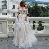 bohemian chic wedding dresses 2021 - Sexy Sweetheart Lace Appliques A Wedding Dresses Off Shoulder Chic Tulle Sleeveless Wedding Gowns Formal Brides Dress 2020