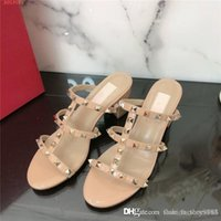 Wholesale fashionable heeled sandals for sale - Group buy Summer new rivet slippers outside wear fashionable versatile women beach sandals slipper middle heel shoes With original box