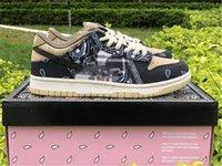 Wholesale SB Dunk Low Travis Scott Cactus Jack Black Parachute Beige Petra Brown Man Running Shoes