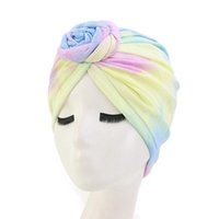 Wholesale multifunctional hat for sale - Group buy Muslim Dyeing Flower Cap Comfortable Colors Cotton Multifunctional Turban Flower Blend Tie Dye Flower party hats KKA7989