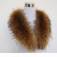 Wholesale real fur wraps scarves resale online - Winter Scarf Women Adult Fashion Solid Hot cm Large True Raccoon Fur Collar Real Genuine Shawl Wrap Great Qs
