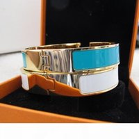 Wholesale colorful 18k bracelet resale online - 1 high grade France designer fashion L stainless steel bangles colorful enamel bracelet k yellow Gold plated party jewelry for women