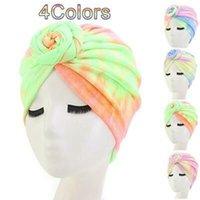 Wholesale multifunctional hat resale online - Muslim Dyeing Flower Cap Comfortable Colors Cotton Multifunctional Turban Flower Blend Tie Dye Flower party hats KKA7989