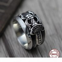 Wholesale men's unique rings for sale - Group buy S925 pure silver men s ring individuality punk style Do old restoring ancient ways ring of the sword unique Gift to your lover