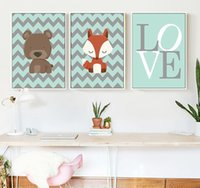 Wholesale canvas children wall art for sale - Group buy 3 Panels Cartoon Animal Canvas Oil Painting Nordic Minimalist Art Poster Prints Wall Pictures for Children Room Decor Cute Wall Decoration