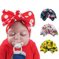 Wholesale newborn beanie flower resale online - Baby Flower Turban Hat Bow Toddler Knot Caps Elastic Girls Hairbands Turban Kids Head Wraps Baby Headwear Hair Accessories HHA1441