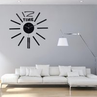 sala de estar grande relógio venda por atacado-Real 3D Big Wall Clock Apressado Wall Mirror etiqueta DIY Sala Home Decor acrílicos da forma Relógios Chegada Quartz Clocks
