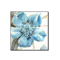 Wholesale flower art handmade paintings for sale - Group buy Beautiful Blue Flowers for Wedding Decoration Handmade Oil Painting Wall Art Indoor Decor for Living Room Home Decor No Framed