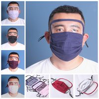 Wholesale shield fabric online – New design fabric mask with Safety eye Shield washable cotton facemask with eye visor anti dust protective mask DHE415