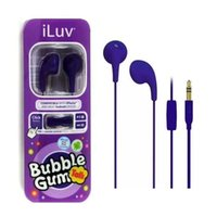 Wholesale android tab phones for sale - Group buy bubble gumy iluv Earphone Hands free With Mic remote control for ios phone Tab mp3 mm headphone Android
