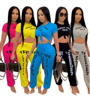 Discount tracksuit set cotton women Womens casual short 2 pieces set solid color printed letter trousers tracksuit woman short sleeve two-piece suit summer clothes S-3XL