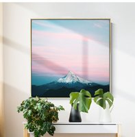 Wholesale pink landscape oil painting for sale - Group buy Japanese Pink Fuji Mountain Landscape Oil Painting Posters Prints Mural abstract Wall Art Pictures for Living Room Hotel Home Decoration