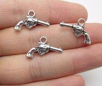 Wholesale silver gun charm bracelet resale online - 200pcs Antique Silver Plated gun Charms Pendants for Jewelry Making Bracelet DIY Handmade x13mm