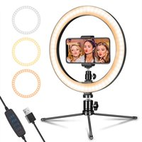 "ingrosso lampada principale della macchina fotografica-10"" Cell Phone Desktop selfie luce dell'anello LED dimmerabili con treppiede Mobile Holder per Live Studio per Youtube in diretta di trucco Camera Lamp"