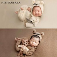 Wholesale doll photo boy resale online - Newborn Baby Photography Clothing Sets Infant Boy Girl Photo Clothes Outfits Mouse Set Hat Rompers Doll Sets
