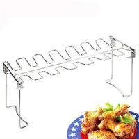 Wholesale barbecue chicken for sale - Group buy Chicken Leg Rack for Grill Smoker or Oven Stainless Steel Vertical Roaster Stand Drip Tray BBQ Accessories JK2007KD
