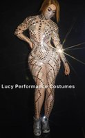 Wholesale one piece water pipe for sale - Group buy Silver water diamond sexy stage costume Jumpsuit steel pipe dance suit women s one piece nightclub singer s costume
