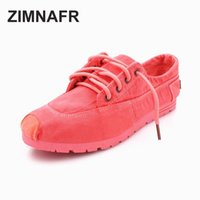 chinesische baumwollschuhe frauen groihandel-ZIMNAFR BRAND WOMEN CASUAL SHOES FASHION GIRL CANVAS SCHUHE Flacher SCHNÜR CHINESE traditionellen Hand COTTON