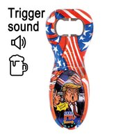 Wholesale funny beer bottle opener resale online - Trump Bottle Opener Portable Sound Voice Funny Stainless Steel Wine Beer Openers Kitchen Gadget Party Favors LJJO8267