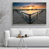 Wholesale oil painting animal scenery resale online - Nordic Wall Art Lake Sunset Landscape Oil Painting Modern Designer Canvas Art Poster Prints Wall Scenery Pictures for Living Room Home Decor