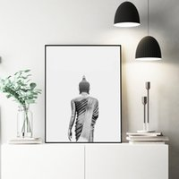 Wholesale art buddha paintings resale online - Buddha Wall Art Canvas Painting Modern Boho Decor Black and White Buddha Statue Vertical Yoga Poster and Print Wall Picture