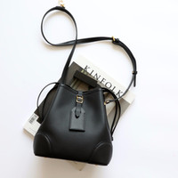 Wholesale pumping body resale online - 2020 New top layer cowhide pumping bucket bag wild stitching small litchi pattern shoulder messenger bag