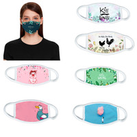 Wholesale pure white masks resale online - 12 designs white D printing pure cotton face mask dust proof Anti fog washable reusable cartoons face mask China