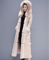Wholesale leather face hood resale online - Cotton Clothing Female Fashion Winter Parka Korean Double Faced Lamb Fur Coat Maxi Long Thick Winter Leather Jacket f2089