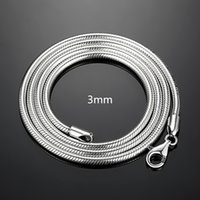 Wholesale tungsten necklaces for men resale online - Designer NecklacePure Silver Necklaces For Men Women mm Snake Chain Necklace Choker Collier Inch Fashion Jewelry Accessories