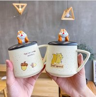 Wholesale Cute cartoon ins large capacity ceramic cup with cover spoon water cup creative Mug art stall gift cups
