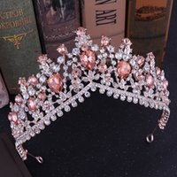 KMVEXO Baroque Rose Gold Pink Crystal Bridal Tiaras Crowns Rhinestone Diadem for Royal Bride Headbands Wedding Hair Accessories Y200807