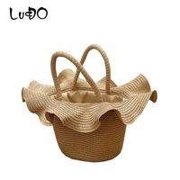 Wholesale hat shaped bag for sale - Group buy Straw Bag Summer Beach Handbag Women Causal Shopping Travel Bag Lace Hat Shape Large capacity Woven Shoulder Bags Pouches Bolsa