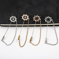 Wholesale word brooch pins resale online - Korean anchor fashion long sweet long tassel flash drill rudder style pin word personality Accessory collar pin brooch accessories jQHPy