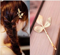 Wholesale hair accessories jewels resale online - a41lb Mori style golden leaf hairpin women s nightclub Jewelry headdress headdress Internet celebrity hair accessories bangs side clip jewel