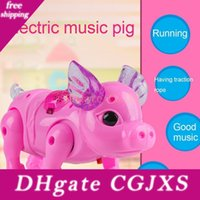 Wholesale electronic presents resale online - Electric Walking Singing Musical Light Pig Toy With Leash Interactive Kids Toy Electronics Robot Gift Children Birthday Present