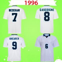 Wholesale england home soccer jersey for sale - Group buy Retro England soccer jerseys home white vintage football shirts COLE BECKHAM OWEN SINCLAIR HESKEY SCHOLES SHERINGHAM GASCOIGNE