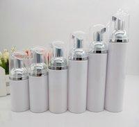 10pcs lot 30ml 60ml 80ml 100ml Mini Plastic Foaming Liquid Soap Dispenser silver Pump Bottles Travel empty foam pump bottle T200819