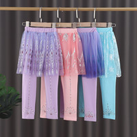 Wholesale skirt pants for kids resale online - Snow Queen Girls Skirt Pants Baby Leggings with skirt Kids Trousers Tights tutu Skirt Pants Boutique children Clothes for Halloween M2500