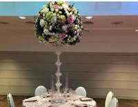 Discount free standing wedding decorations free shipment new acrylic crystal wedding centerpiece table centerpiece for wedding decoration road leads pillar of flower stand